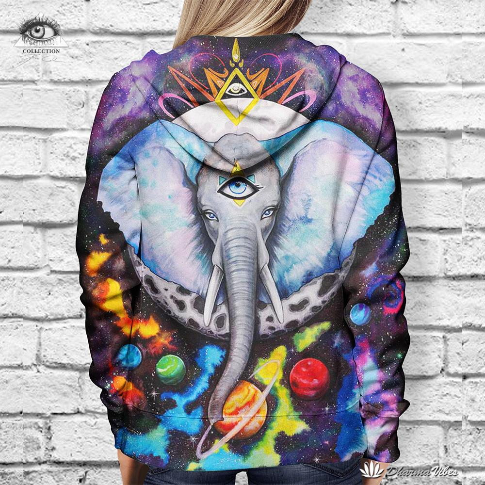 Elephant Galaxy By Pixiecold (Yoga 3D Hoodie)