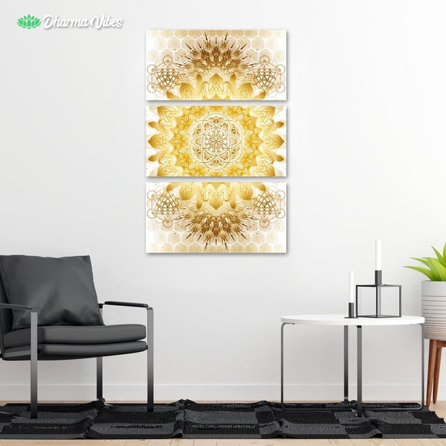 Raising - Clear Gold by YantrArt 3-Piece Canvas