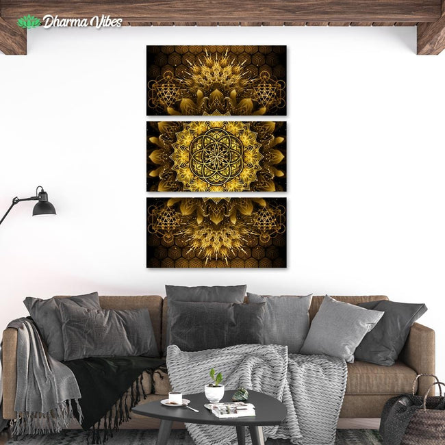 Raising - Gold by YantrArt 3-Piece Canvas