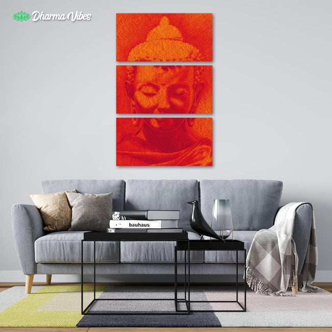 Red-Gold by BuddhArt 3-Piece Canvas
