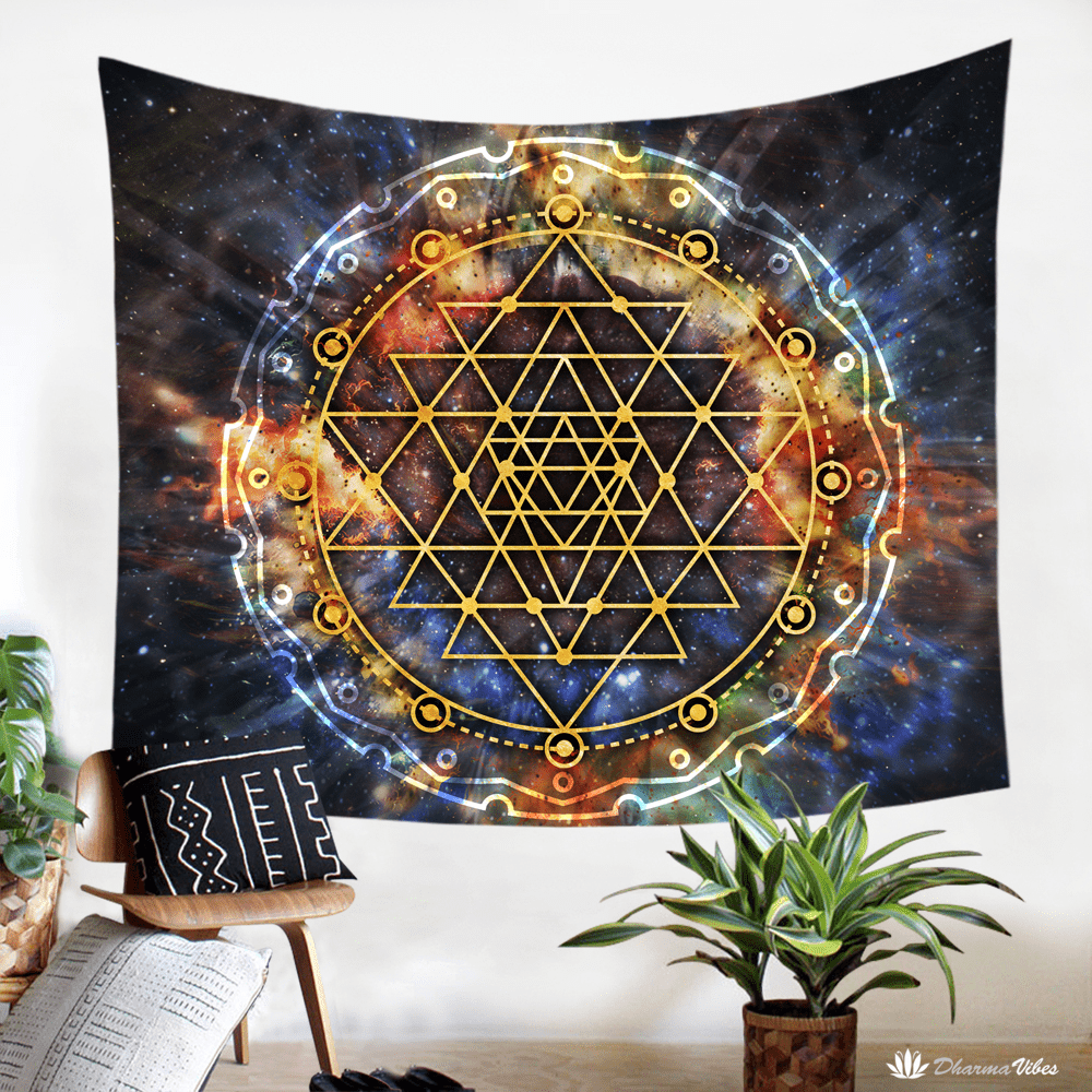 Sri Yantra Galaxy Tapestry by McAshe