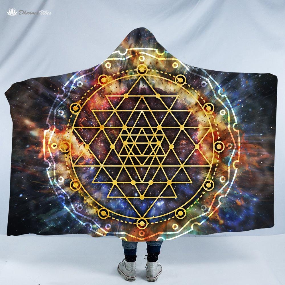 Sri Yantra Galaxy by McAshe Hooded Blanket