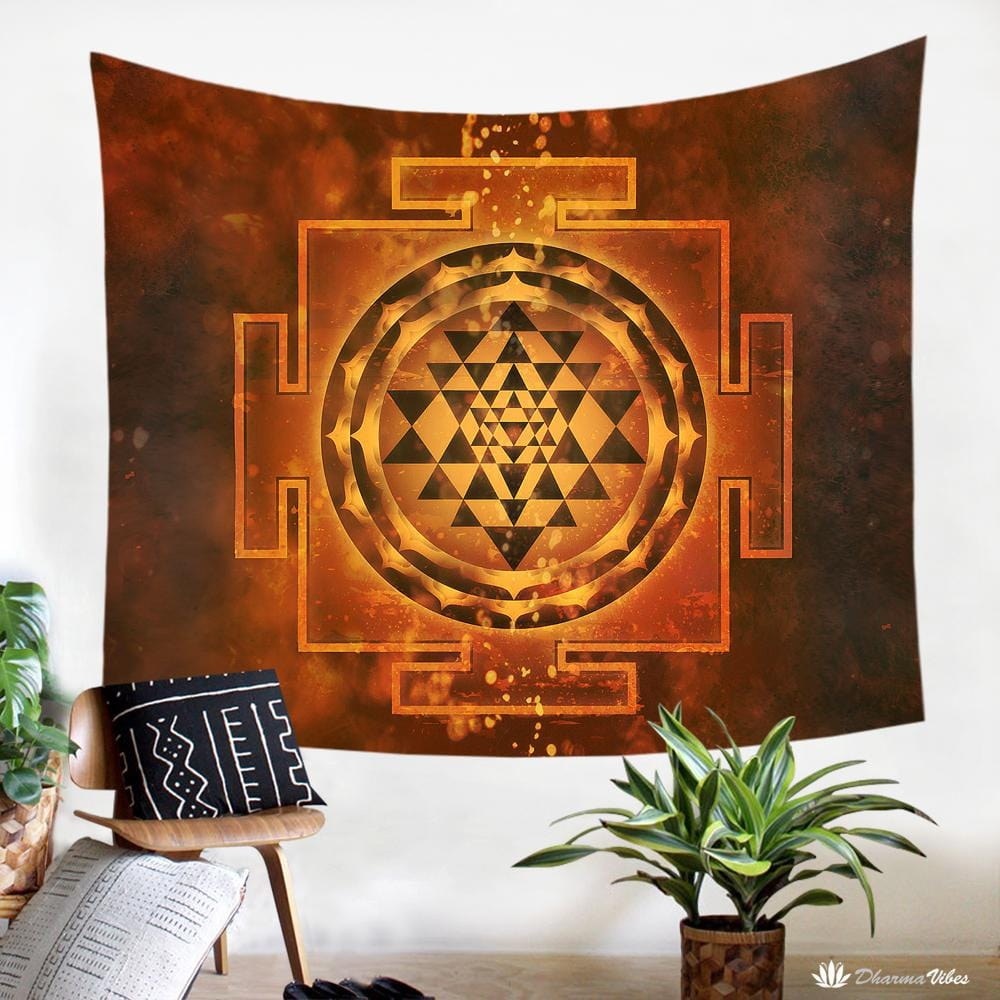 Sri Yantra Yoga Tapestry by McAshe