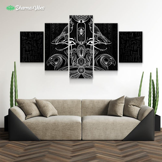 The Auspices of Horus - Black by YantrArt 5-Piece Canvas