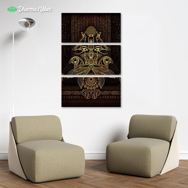 The Auspices of Horus - Golden by YantrArt 3-Piece Canvas