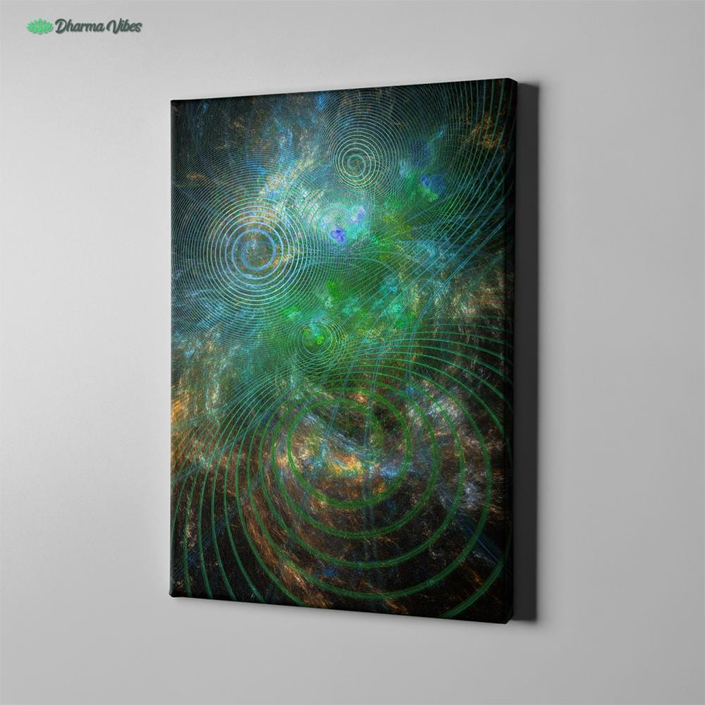 The Unfolded Cosmos Green by YantArt Design 1-Piece Canvas