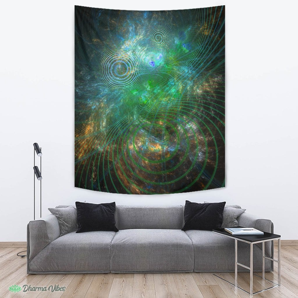 The Unfolded Cosmos Green by YantrArt Design Tapestry