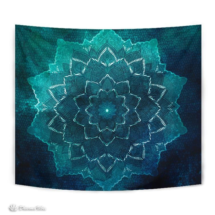 Teal Flower Mandala by McAshe Tapestry