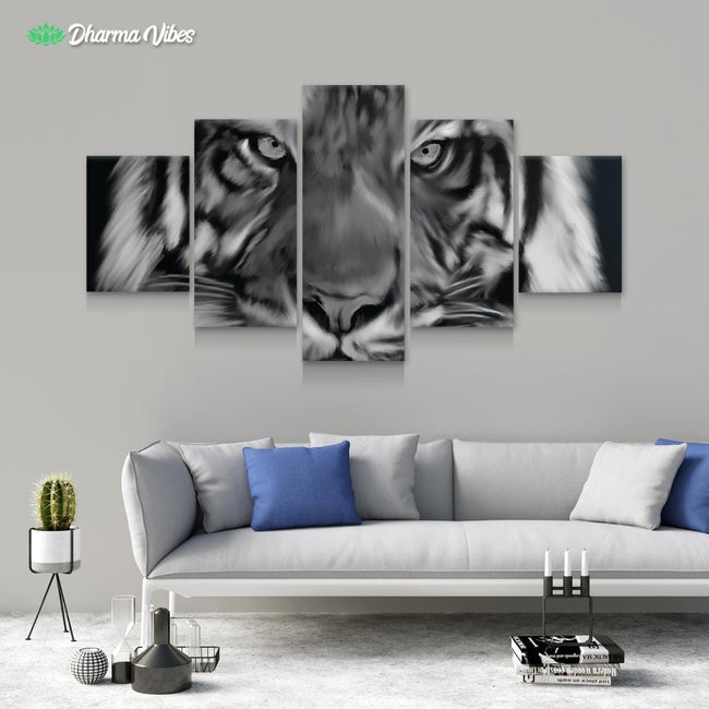 Tiger Stare by Andy Brackpool 5-Piece Canvas