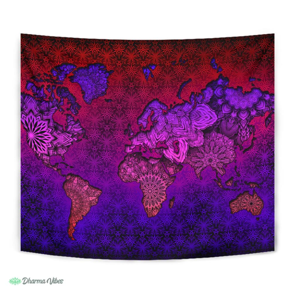 Mandala World Map by YantrArt Design Tapestry