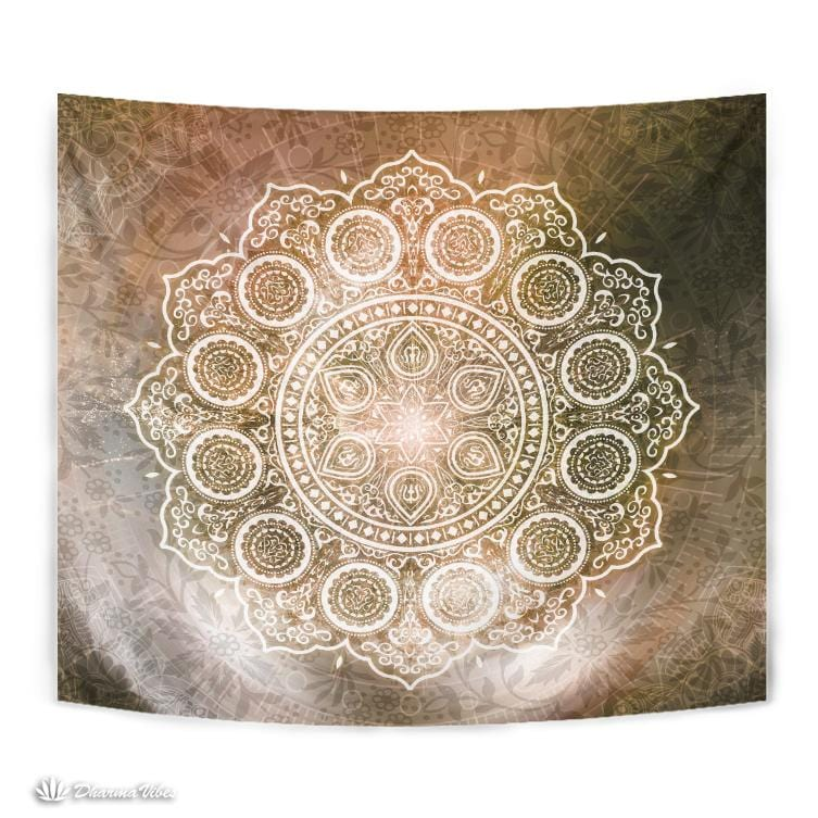 Warm Flower Mandala by McAshe Tapestry