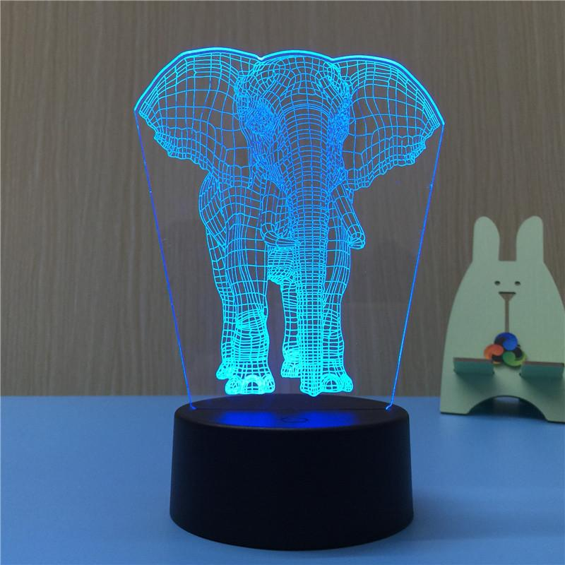 Elephant Lucky Multi-Color 3D Lamp