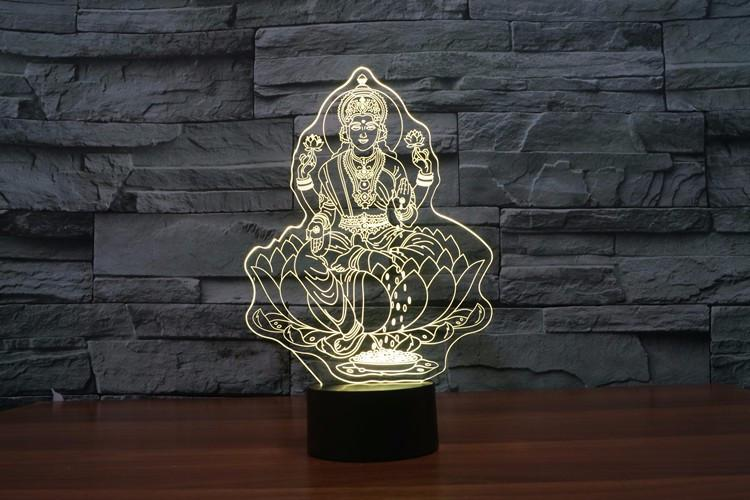 Goddess Lakshmi Hindu Multi-Color 3D Lamp