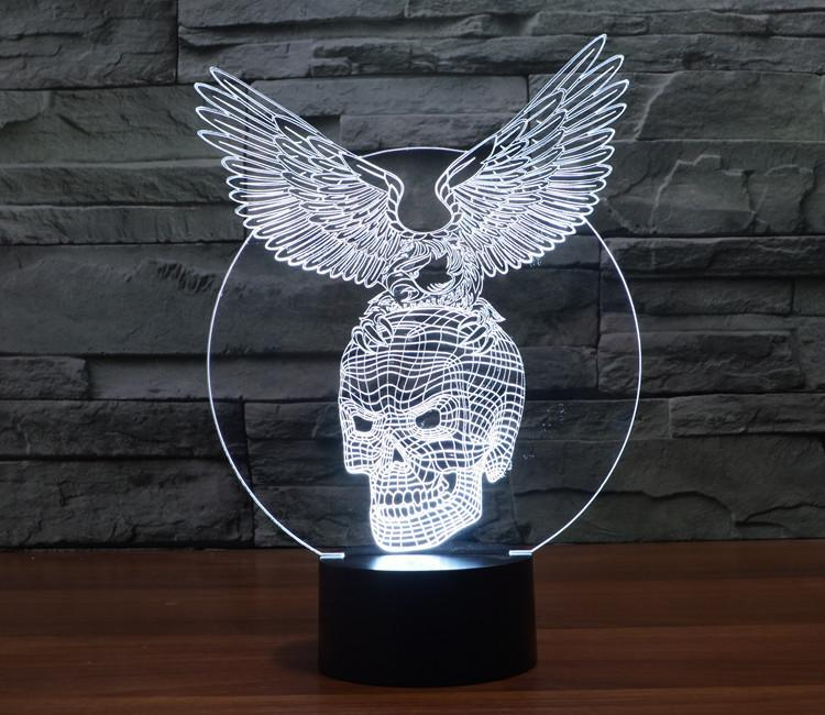 Skull Eagle Multi-Color 3D Lamp