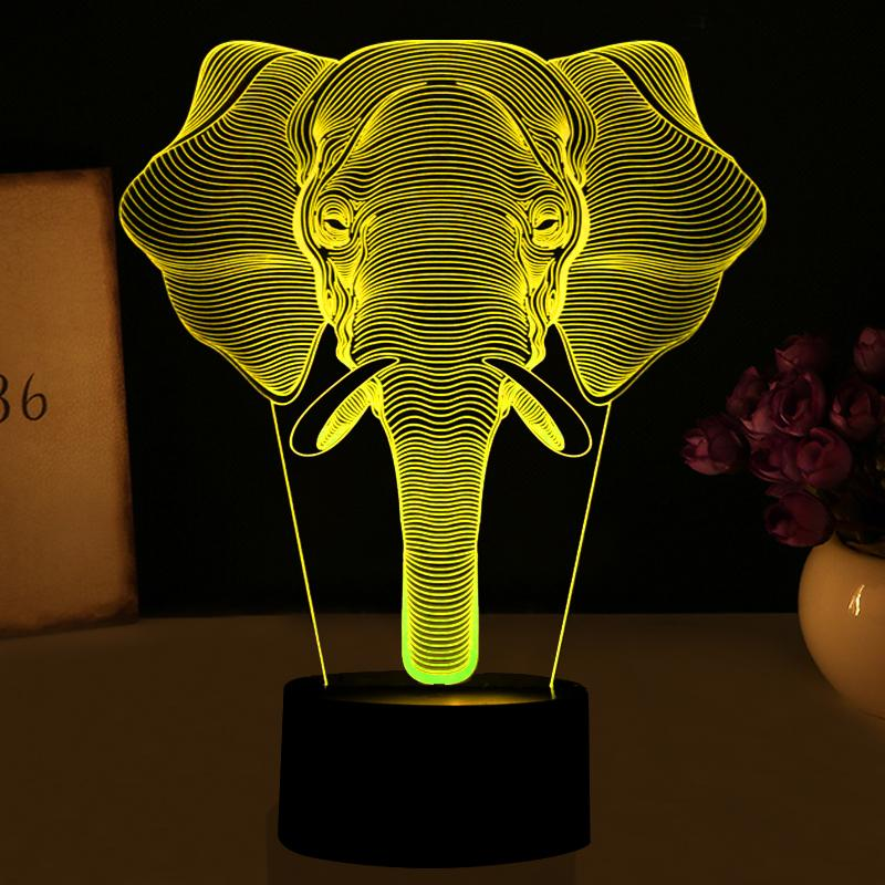 Elephant Divine Multi-Color 3D Lamp