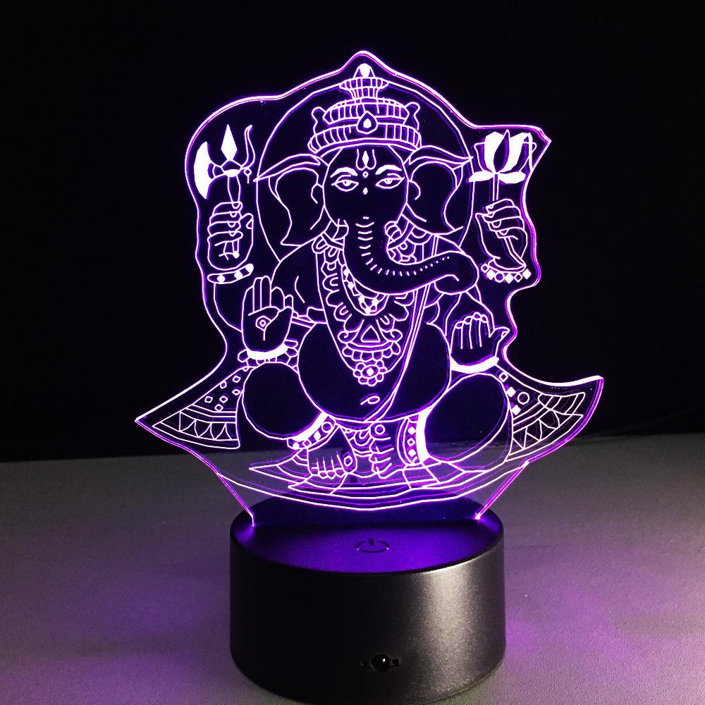 Ganesha Yoga Multi-Color 3D Lamp