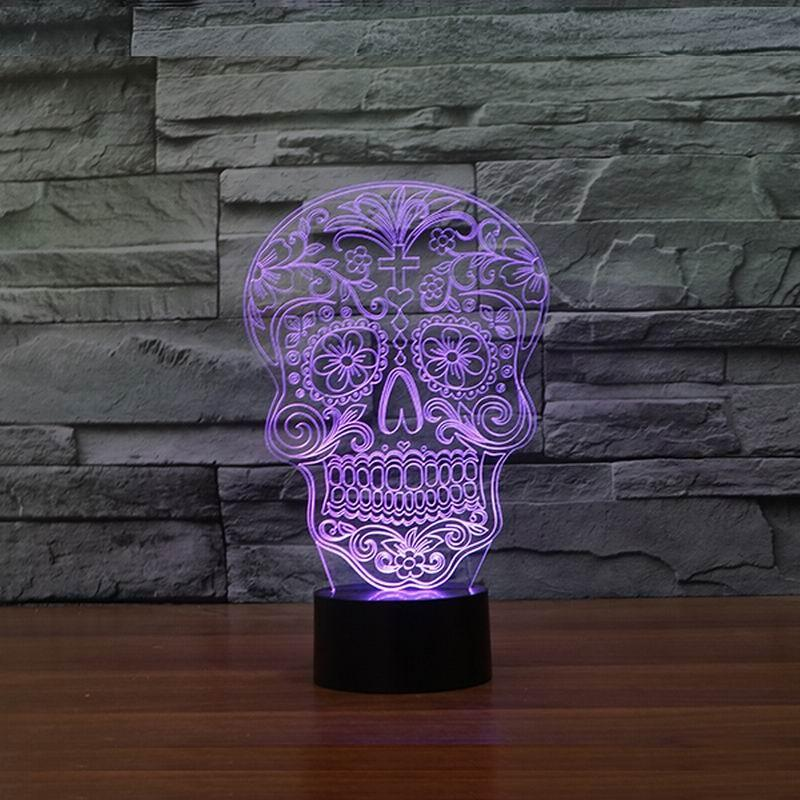 Skull Day of the Dead Multi-Color 3D Lamp