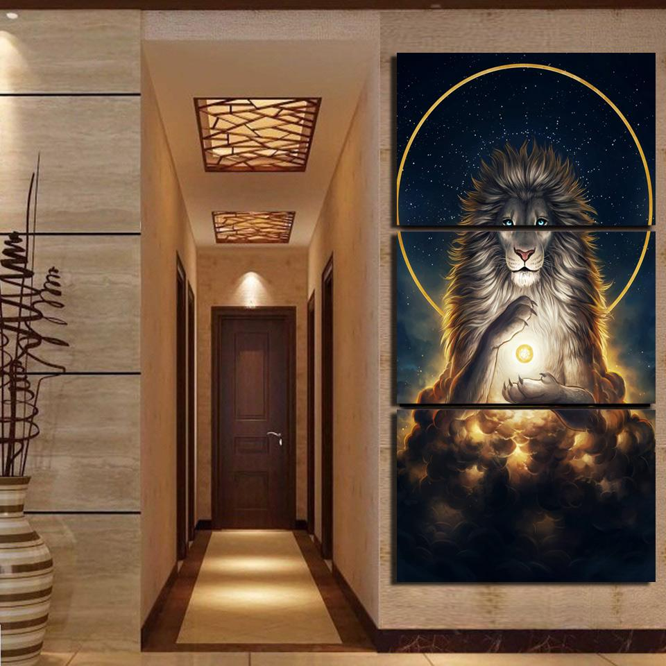 Soul Keeper by JoJoesArt 3-Piece Lion Canvas Painting