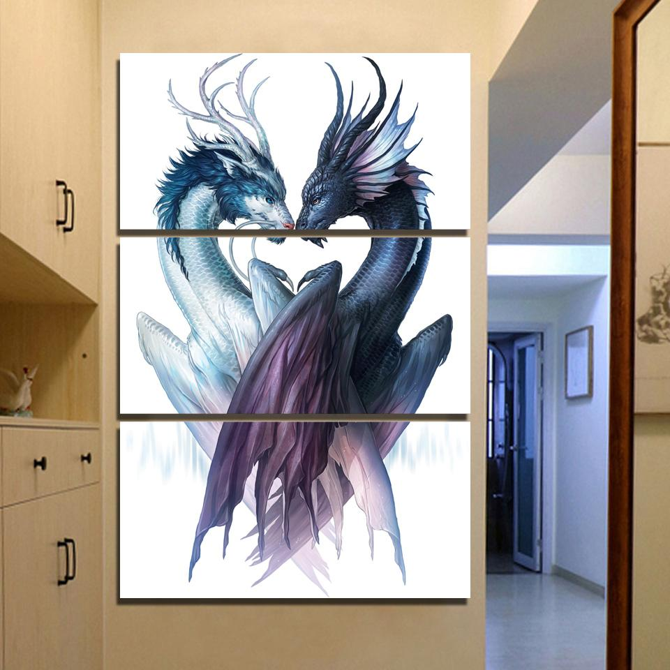 Yin and Yang Dragons by JoJoesArt 3 Piece Canvas Painting