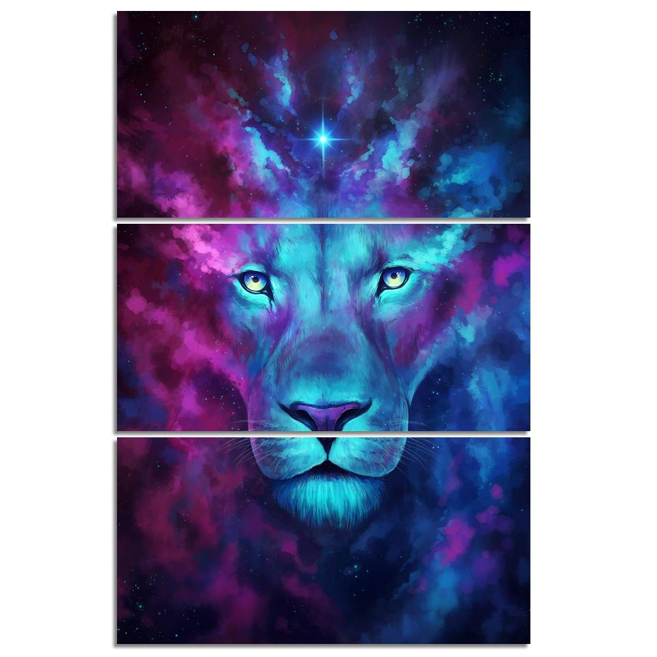 Firstborn by JoJoesArt 3-Piece Lion Canvas Painting