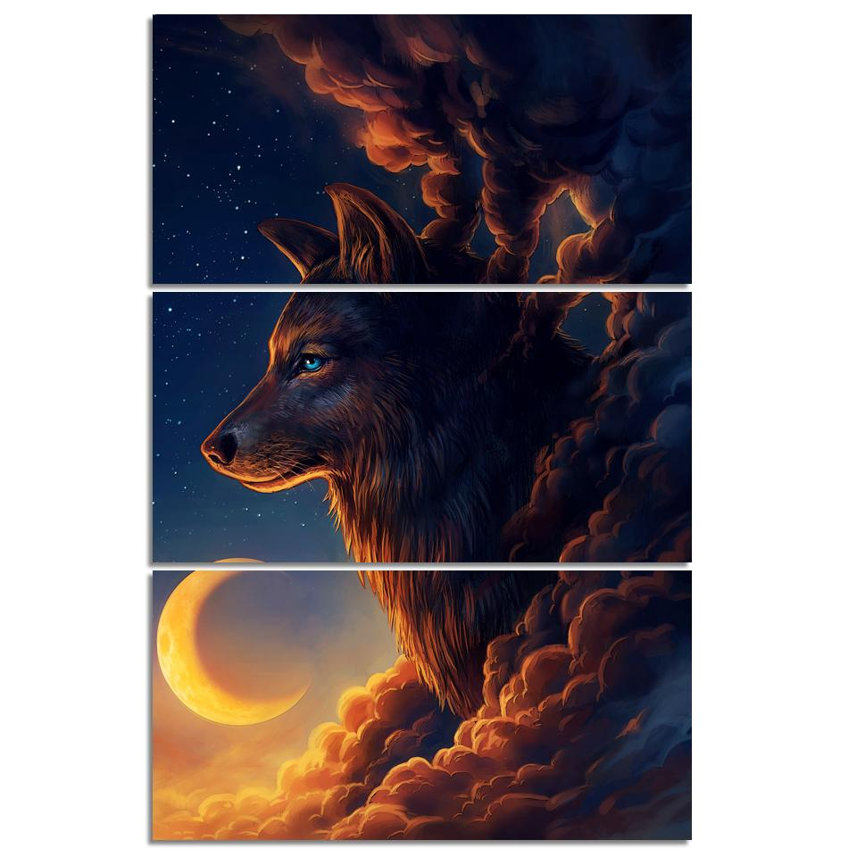 Night Guardian by JoJoesArt 3-Piece Wolf Canvas Painting