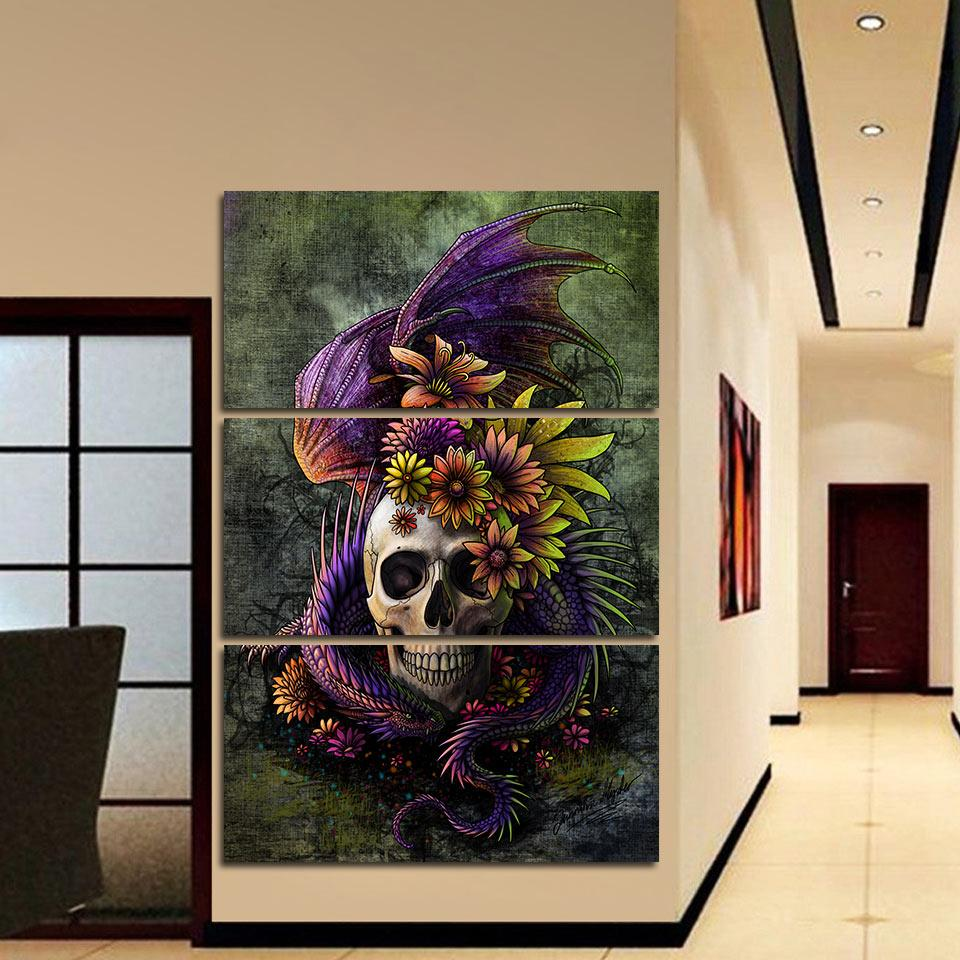 Flowery Skull by SunimaArt 3-Piece Canvas Painting