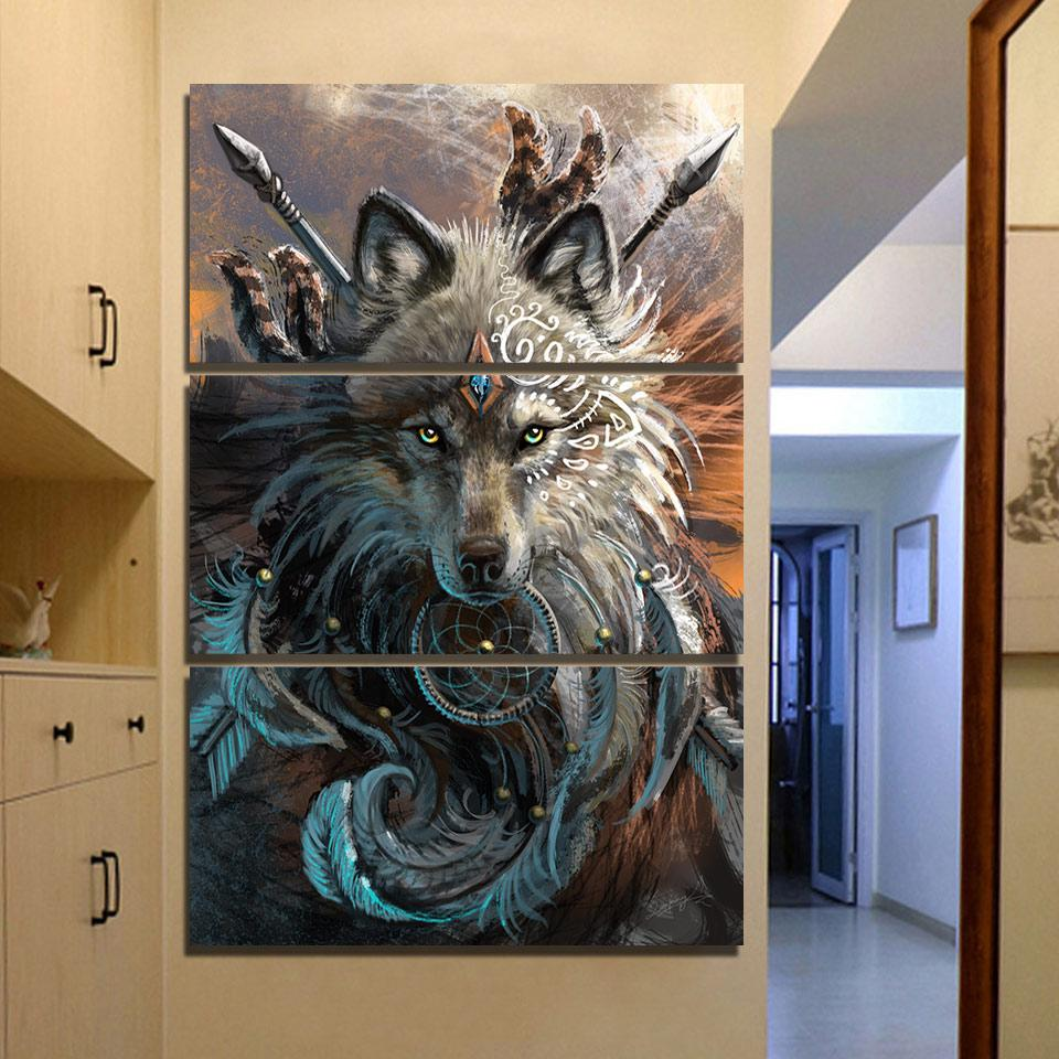 wolf warrior by sunimaart 3 piece canvas painting dharma vibes