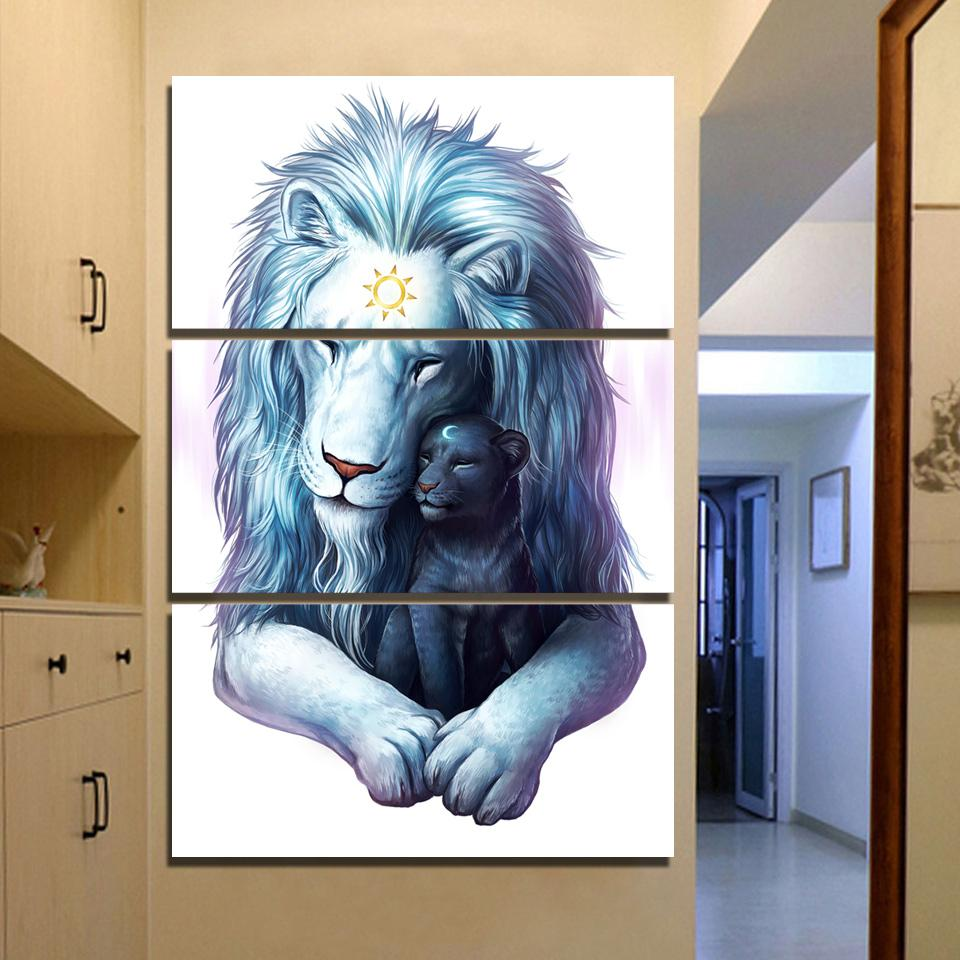 Child of Light by JoJoesArt 3-Piece Lion Canvas Painting