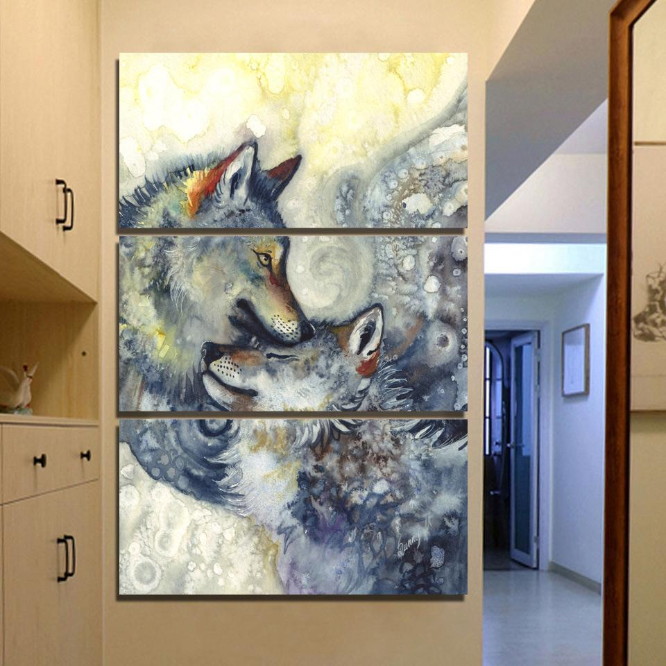 Wolves Lovers by SunimaArt 3-Piece Wolf Canvas Painting