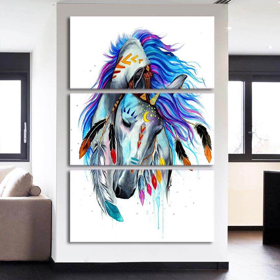 Horse by Pixie Cold 3-Piece Canvas Painting