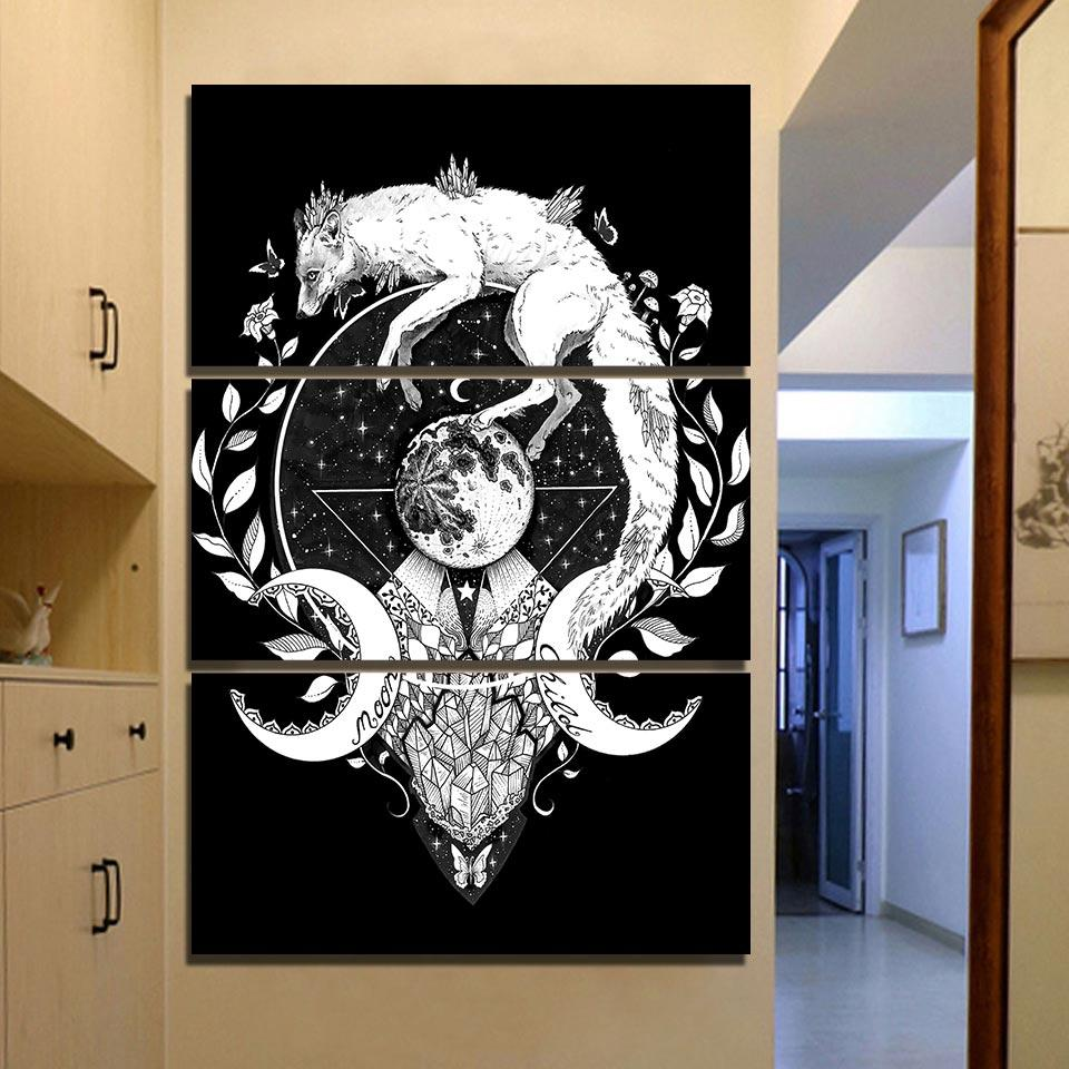 Moon Child Black by Pixie Cold 3-Piece Wolf Canvas Painting