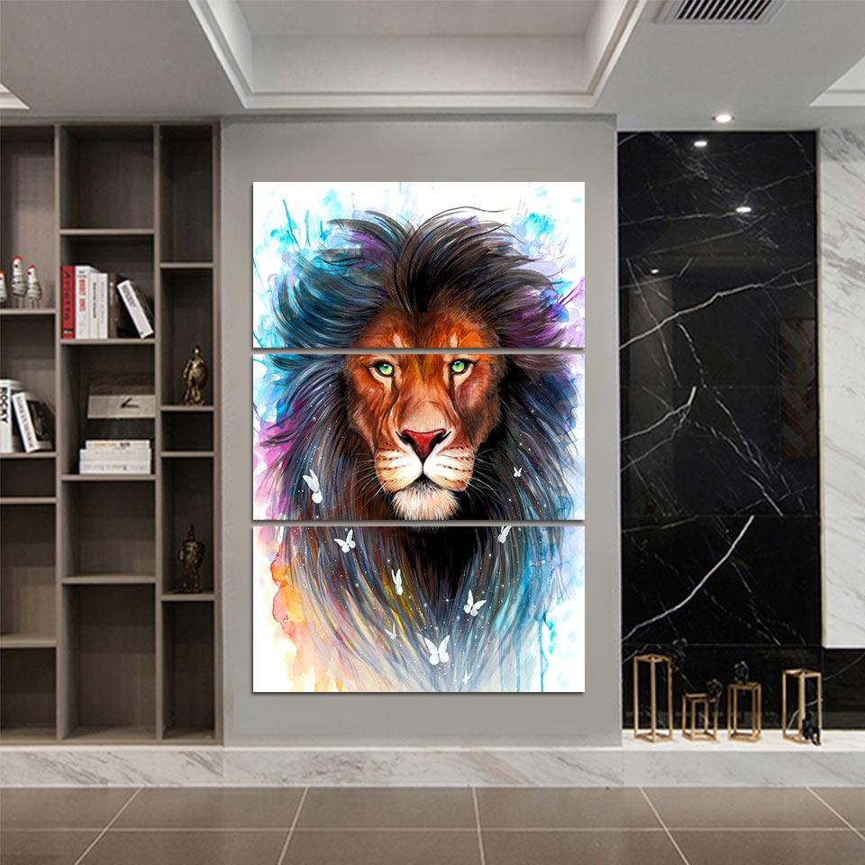 Scared King by Pixie Cold 3-Piece Lion Canvas Painting