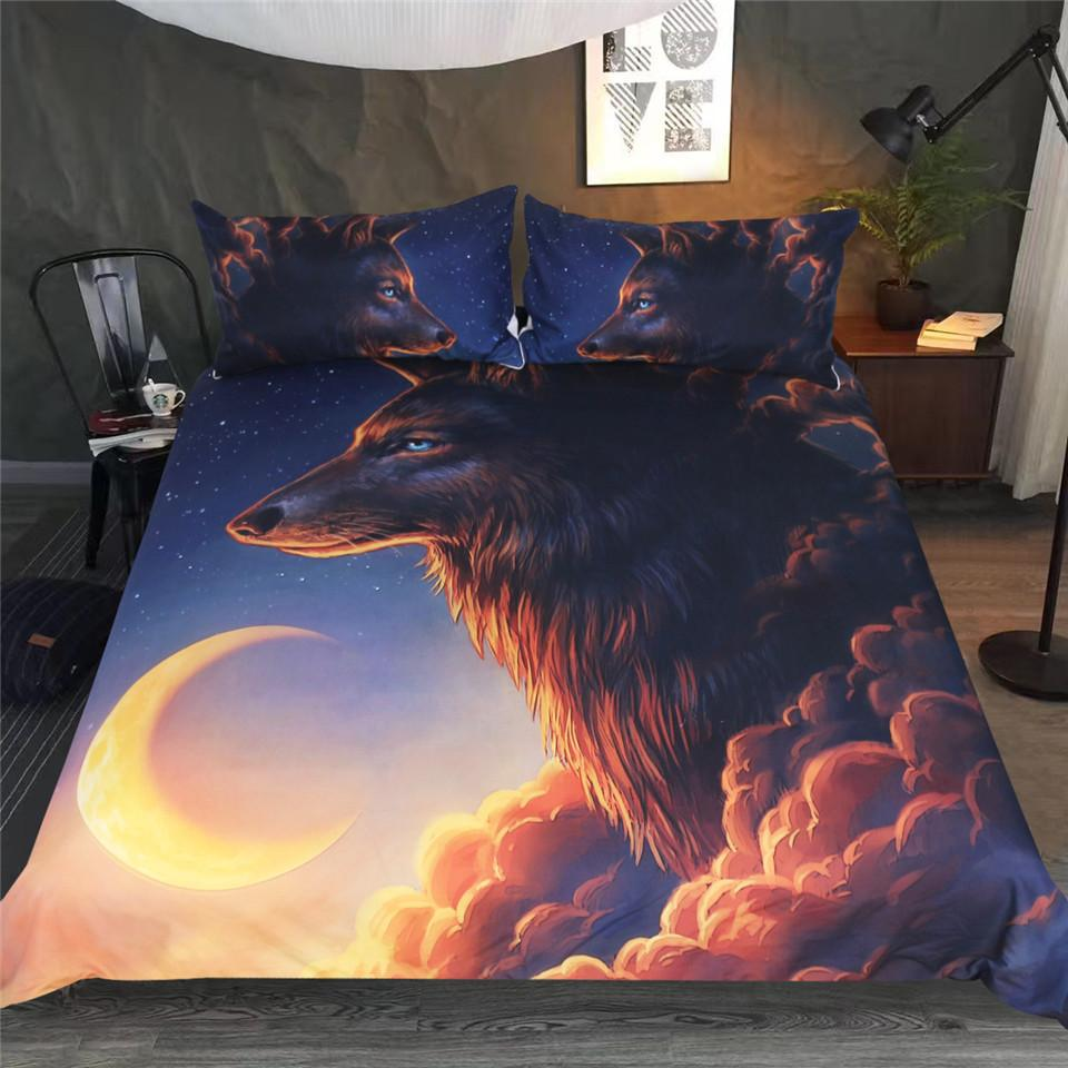 Night Guardian by JoJoesArt Wolf Bedding Set