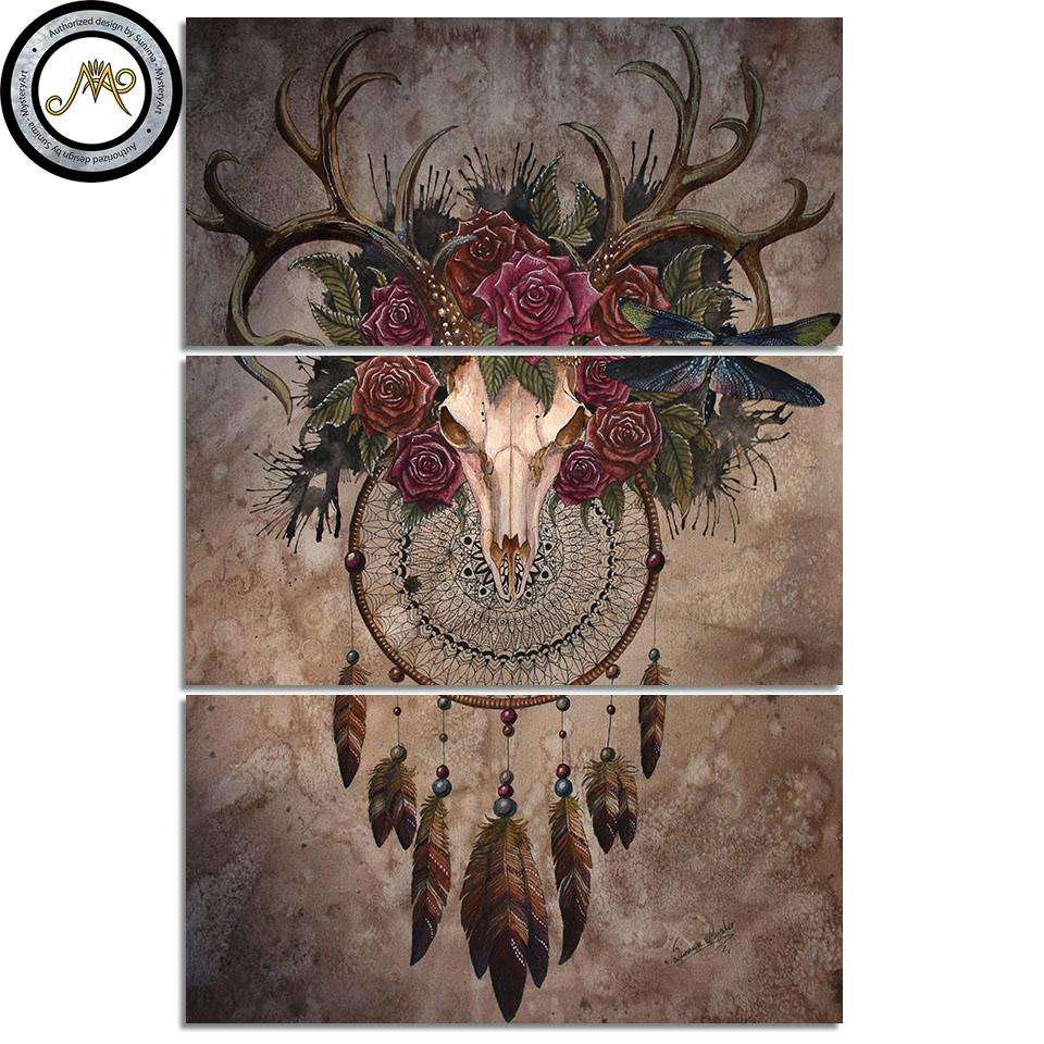 Mystery Skull Dreamcatcher by Sunima Art 3-Piece Canvas Painting