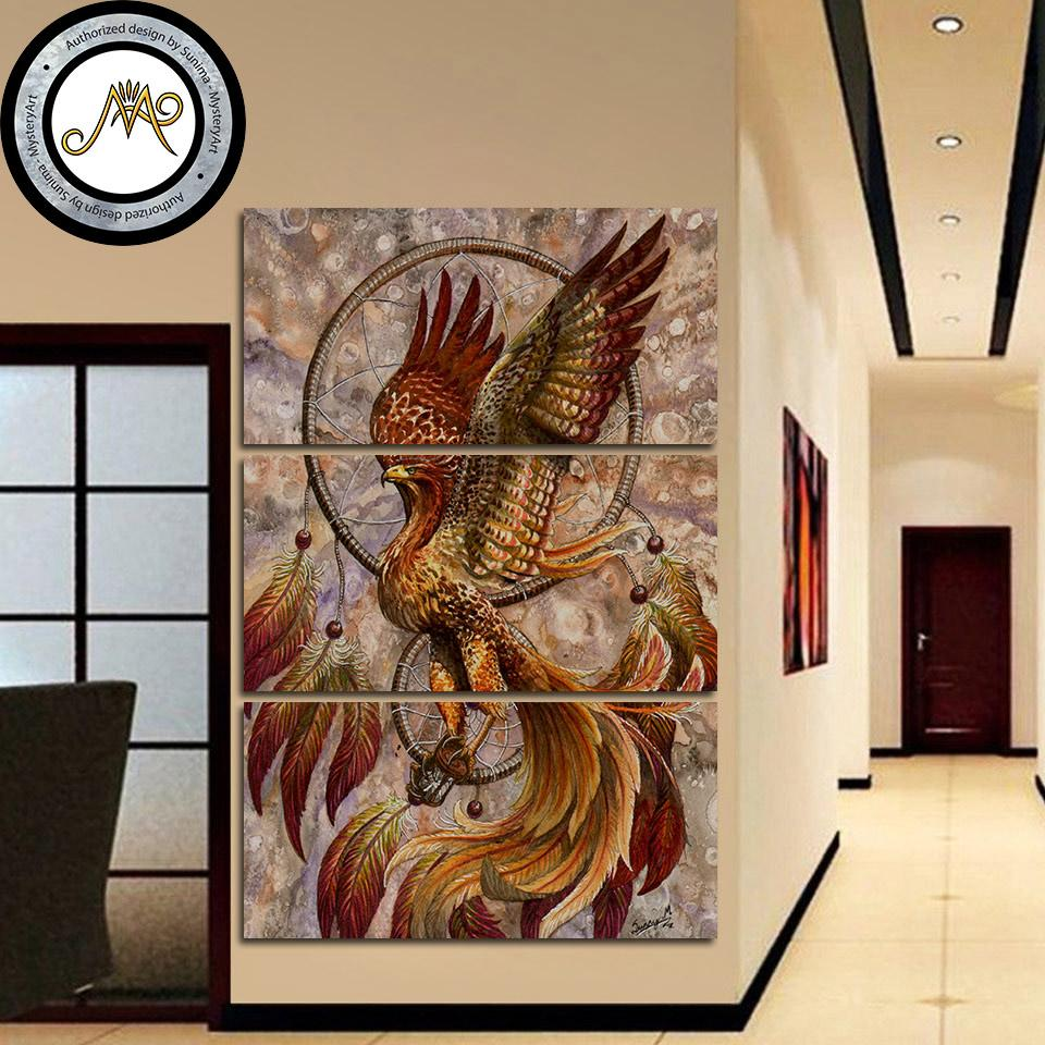 Dreamcatcher by Sunima Art 3-Piece Phoenix Canvas Painting