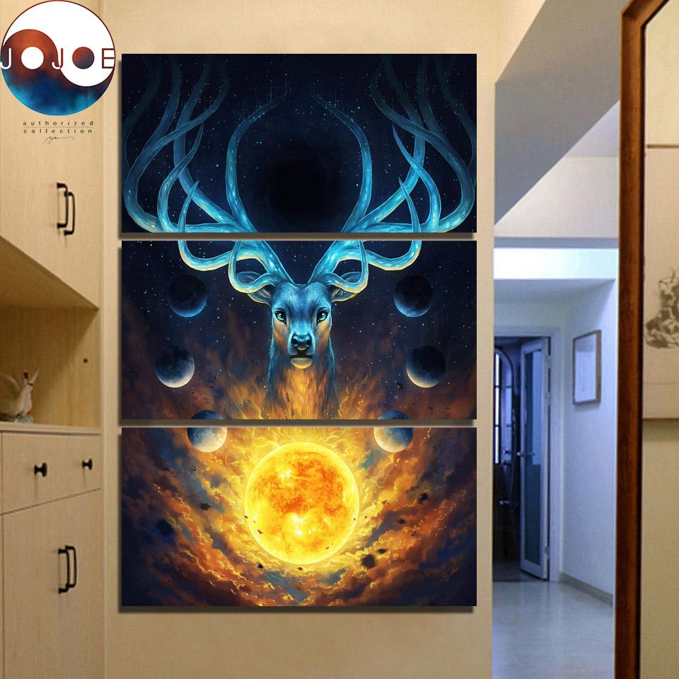 Celestial by JoJoesArt 3-Piece Deer Canvas Painting