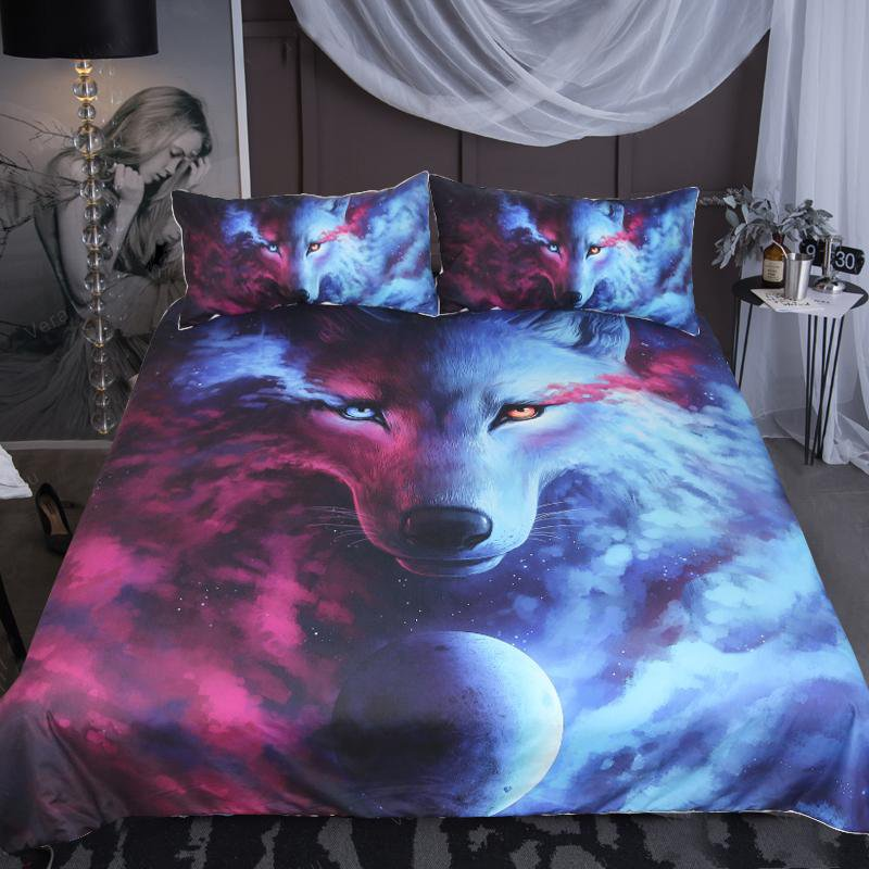 Where Light And Dark Meet by JoJoesArt Wolf Bedding Set