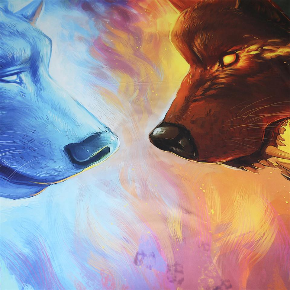 Fire and Ice by JoJoesArt Wolf Bedding Set