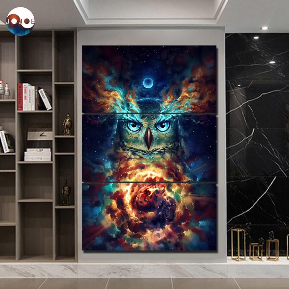 Nebowla by JoJoesArt 3-Piece Owl Canvas Painting