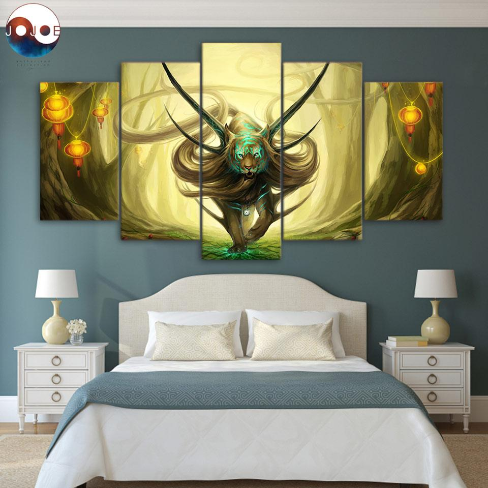 God of Evanescence by JoJoesArt 5-Piece Tiger Canvas Painting