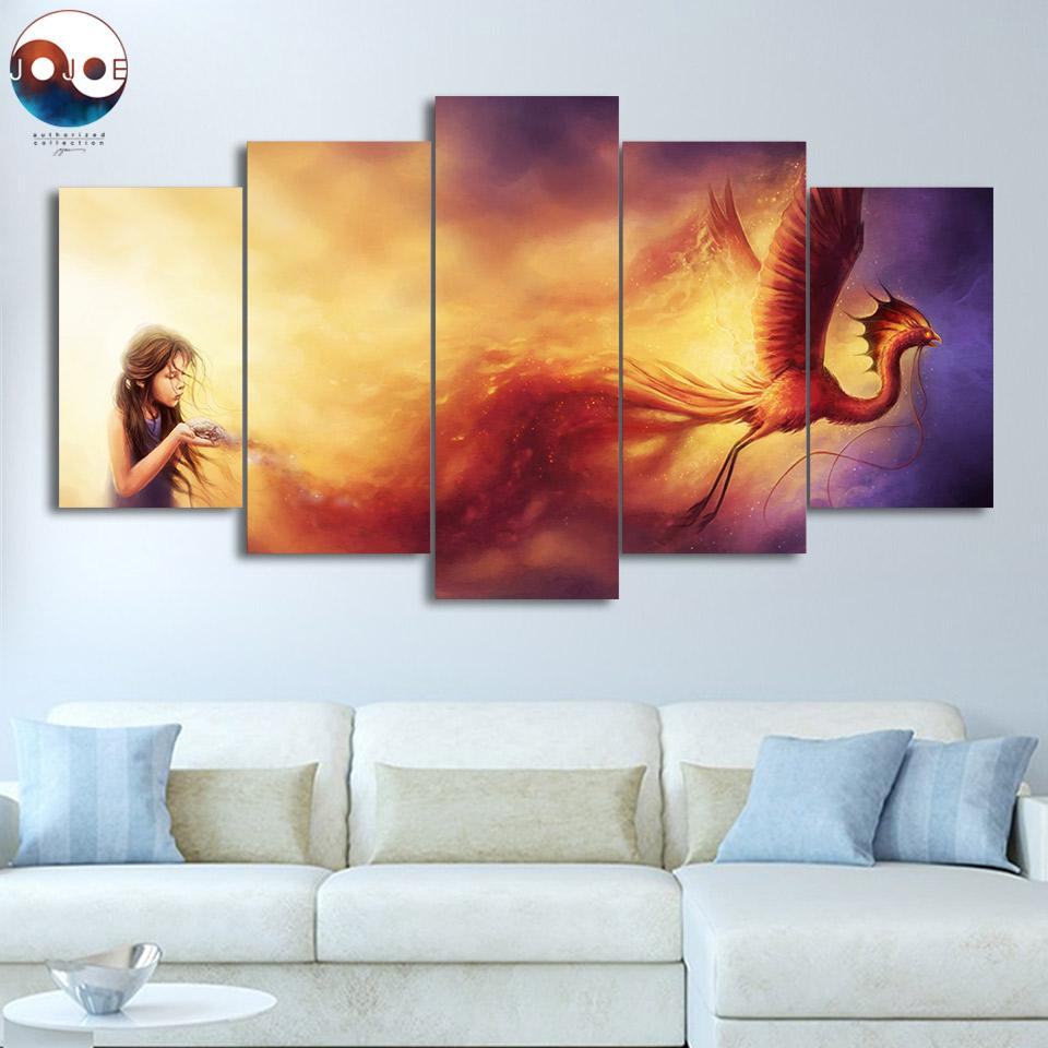 Born from the Ashes by JoJoesArt Dragon 5-Piece Canvas Painting