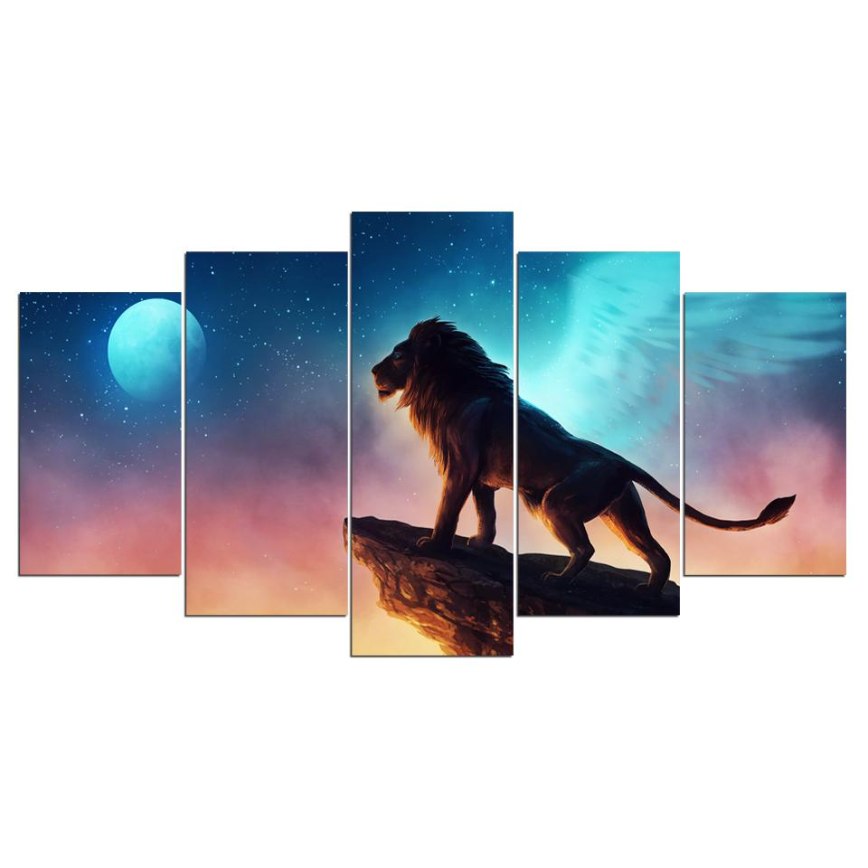 Free Like a Bird by JoJoesArt 5-Piece Lion Canvas Art