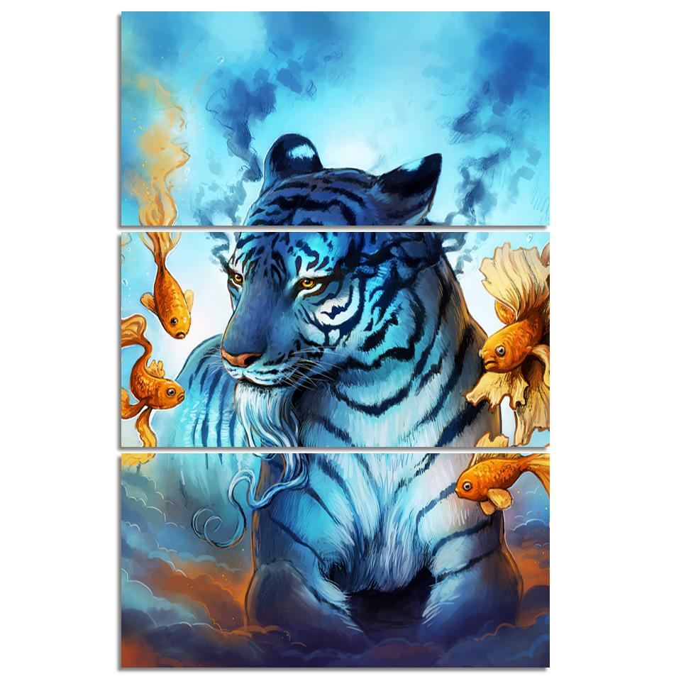 Dream by JoJoesArt 3-Piece Tiger Canvas Art