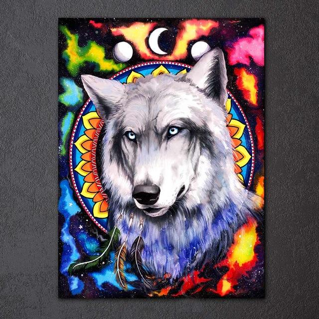 Wolf Galaxy by Pixie Cold 1-Piece  Canvas Painting