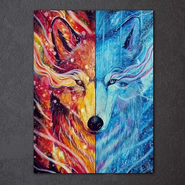 Wolf Fire Ice by Scandy Girl 1-Piece Canvas Painting