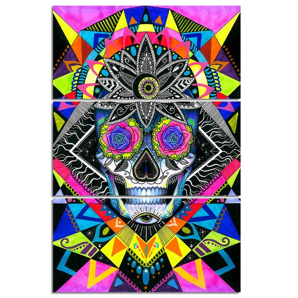 Sugar Skull by PixieCold 3-Piece Canvas Art