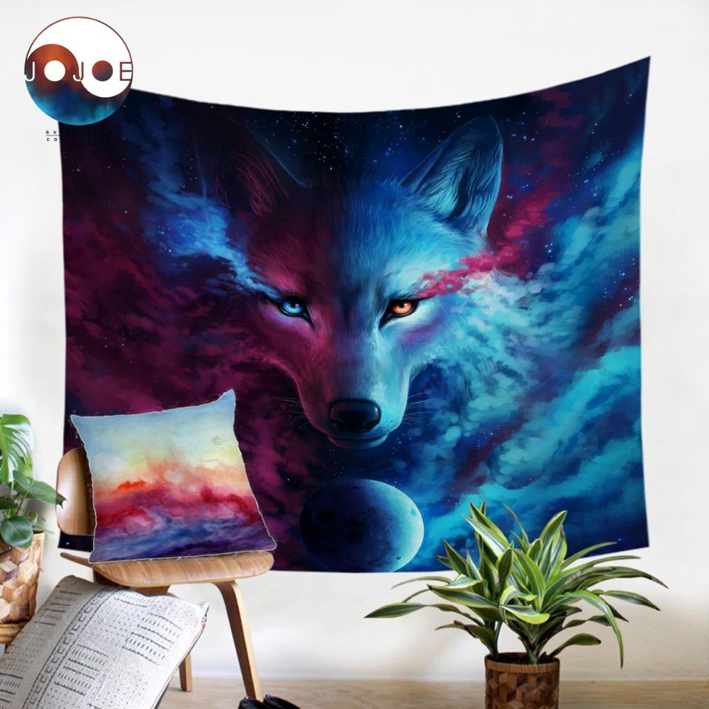 Where Light And Dark Meet by JoJoesArt Wolf Tapestry