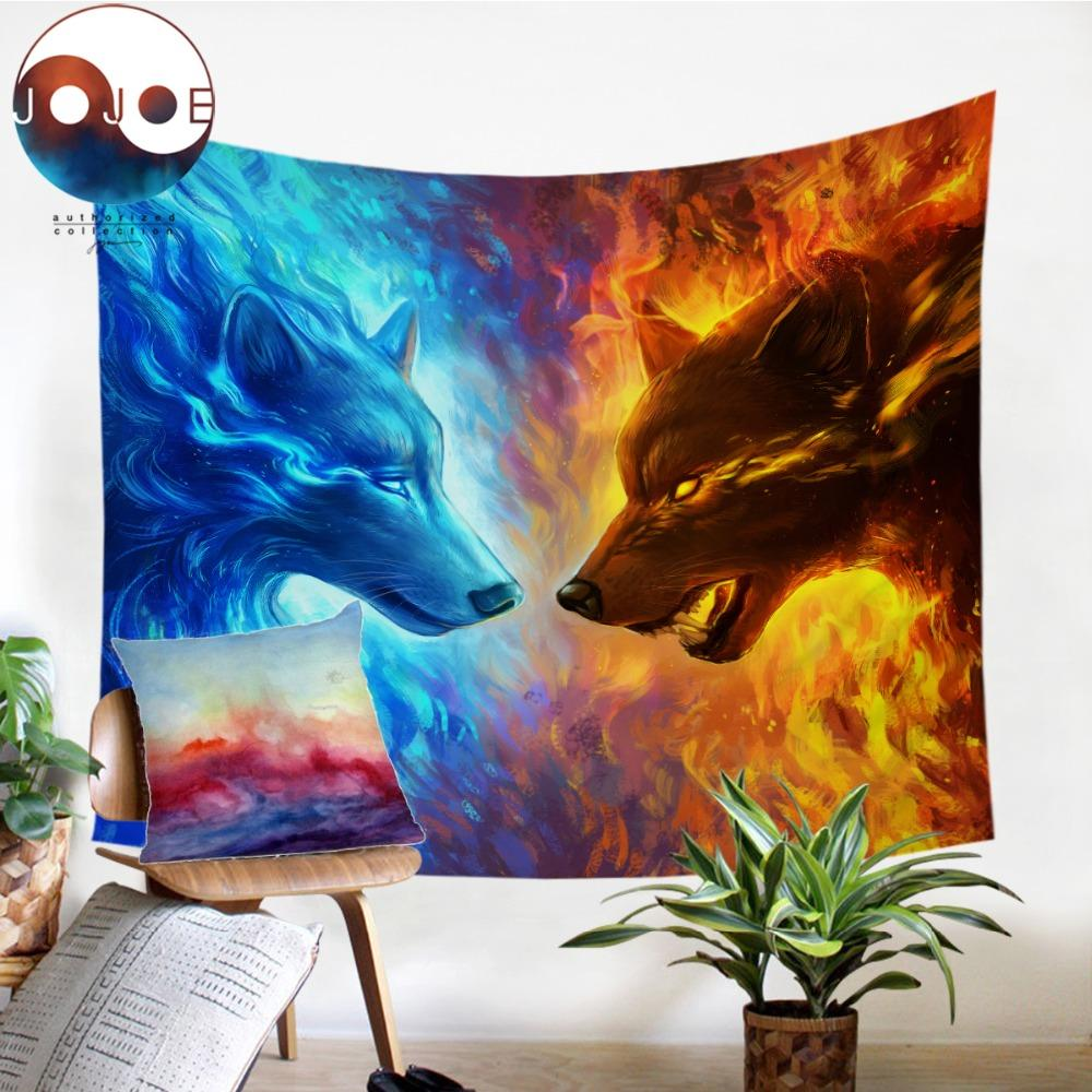 Fire and Ice by JoJoesArt Wolf Tapestry