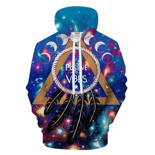Positive Vibes Moon By Pixiecold (Yoga 3D Hoodie)