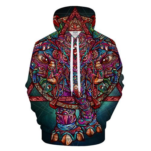Color Elephant By jml2 Arts (Psychedelic 3D Hoodie)